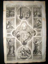 Ribadeneyra 1669 Folio Religious Print. Saints of November